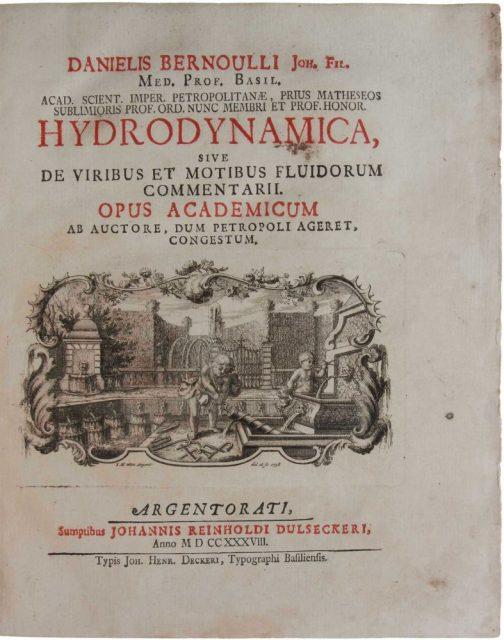 «Hydrodynamica», Daniel Bernoulli. 1738.