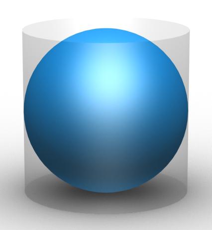 Esfera de radio r en un cilindro de radio r y altura r. El volumen de la esfera es 2/3 del volumen del cilindro, resultado del que Arquímedes se sentía tan orgulloso que posiblemente lo mandó a grabar en su tumba. Fuente: Wikipedia.