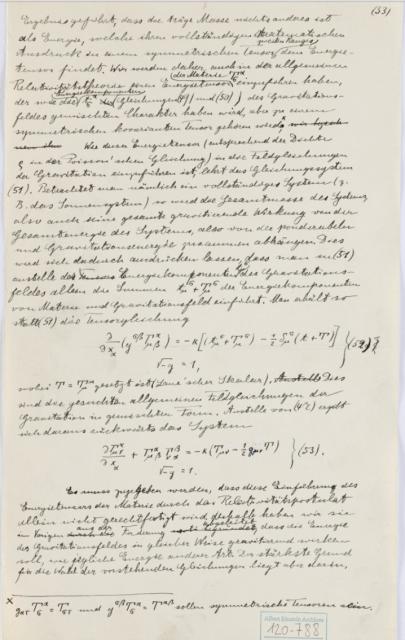 Hoja manuscrita por Einstein sobre las ondas gravitatorias. Fuente: Universidad Hebrea de Jerusalén.