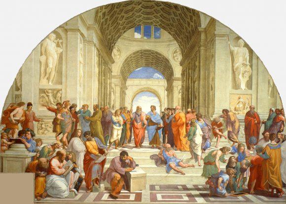 «La escuela de Atenas» (1510-1512), de Rafael Sanzio. Es muy posible que la persona que aparece inclinado con un compás sea Euclides o Arquímedes (parte inferior derecha).