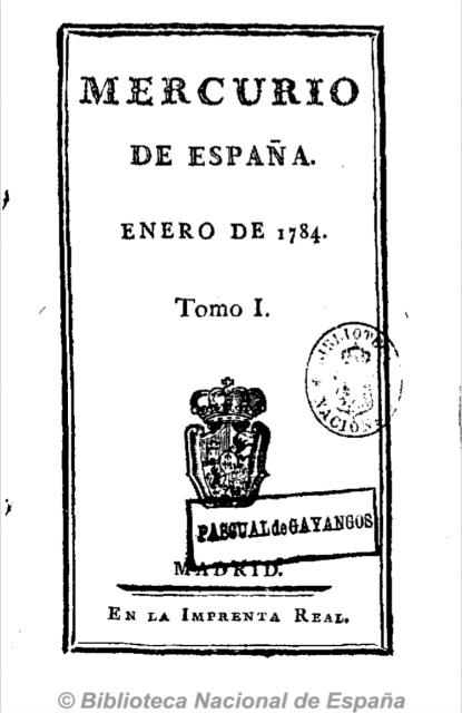 Portada del primer ejemplar de Mercurio de España. Fuente: Hemeroteca de la Biblioteca Nacional de España.