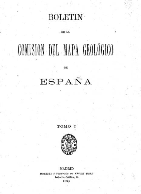Portada del primer ejemplar del Boletín para la Comisión del Mapa Geológico de España. Fuente: Hemeroteca de la Biblioteca Nacional de España.