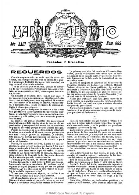 Primera página de Madrid científico n.º 883, 15 de mayo de 1916. Fuente: Hemeroteca de la Biblioteca Nacional de España.