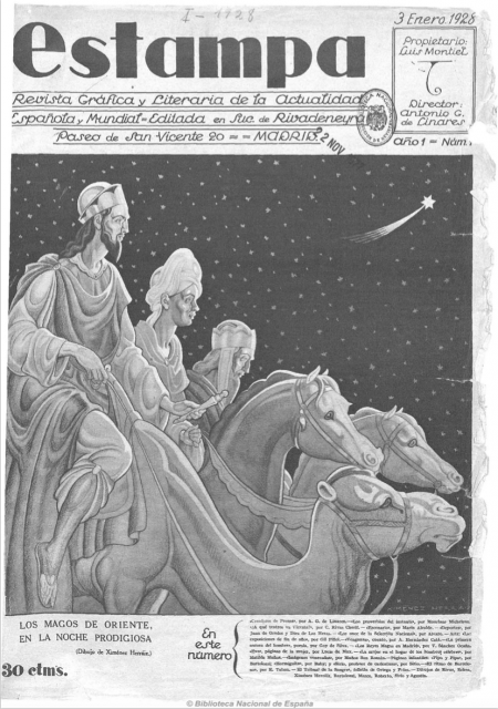 Portada del primer número de la revista Estampa. Fuente: Hemeroteca de la Biblioteca Nacional de España.