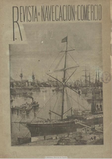 Portada de la Revista de Navegación y comercio n.º 79 (1892). Fuente: Hemeroteca de la Biblioteca Nacional de España.