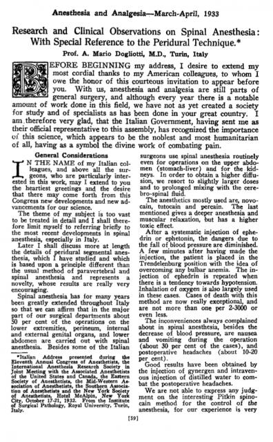 Primera página del artículo de Dogliotti (1933) sobre la anestesia segmentaria, hoy conocida como epidural.