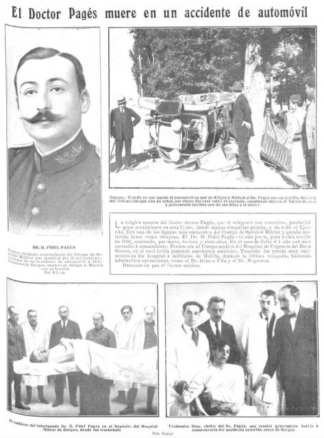 Página completa por el accidente de Pagés, en Mundo gráfico (septiembre de 1923).