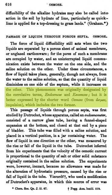Texto donde Graham propone la palabra, para aunar los dos vocablos introducidos por Dutrochet. Se encuentra en la p616 del volumen II de los Elementos de Química.