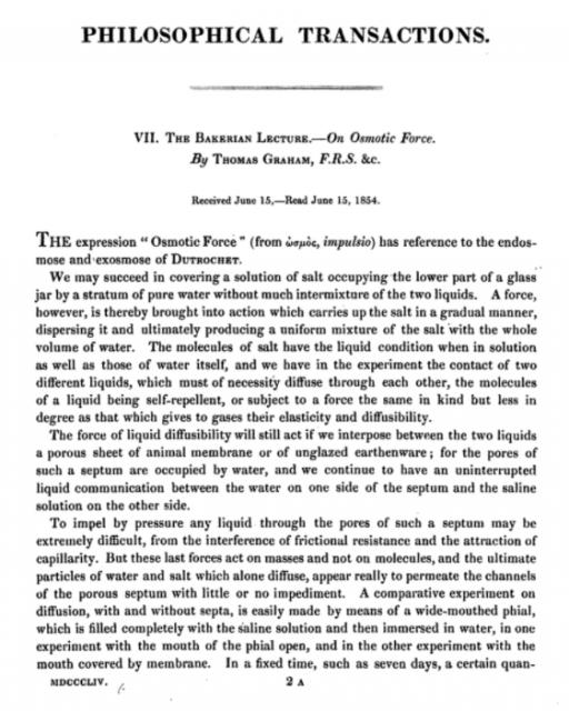 Artículo en el que Graham propone la expresión «presión osmótica».