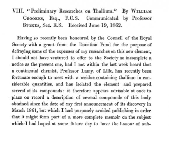 Primera página del artículo (1862) donde Crookes detallaba su investigación sobre el talio, basada en la nueva técnica espectral.