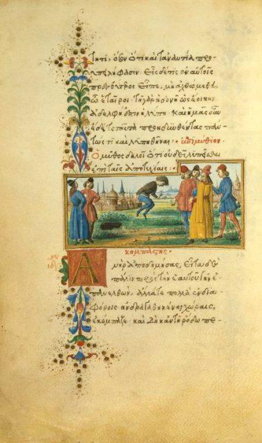 Ilustración de Gherardo de la fábula «El fanfarrón», para la edición de 1480.