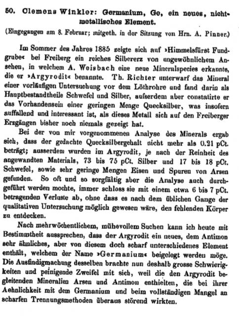 Primera página del artículo donde Winkler anunciaba en 1886 el «Germanio, Ge, un nuevo elemento no .metálico»