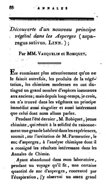 Primera página del artículo donde Robiquet anunciaba el descubrimiento de la asparagine. «La découverte d'un nouveau principe végétal dans le suc des asperges», 1806.