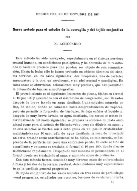 Primera página del breve artículo (solo tres páginas) donde Achúcarro describía su método. 1911.