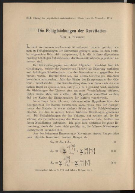 Die Feldgleichungen der Gravitation