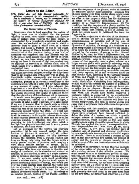 Carta al director de Lewis donde propone el término «fotón». Nature.