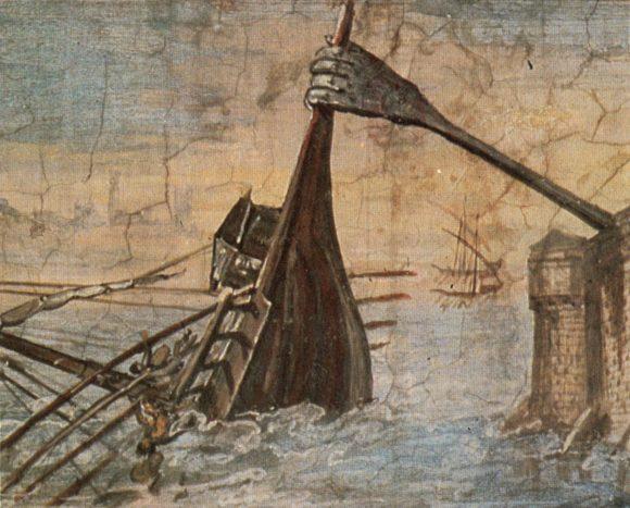Interpretación artística de la garra de Arquímedes, por Giulio Parigi, entre 1599 y 1600. Fuente: Wikipedia.