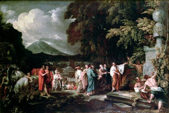 «Cicerón descubriendo la tumba de Arquímedes», Benjamin West. Fuente: Wikipedia.