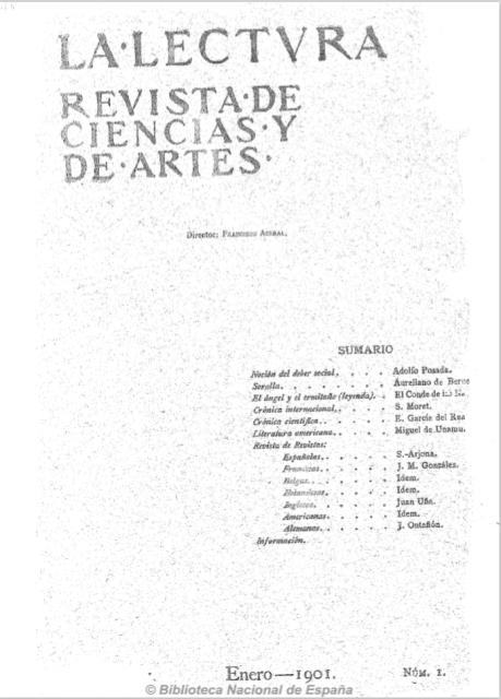 Portada del primer número de La lectura: Revista de ciencias y de artes. Fuente: Hemeroteca de la Biblioteca Nacional de España.