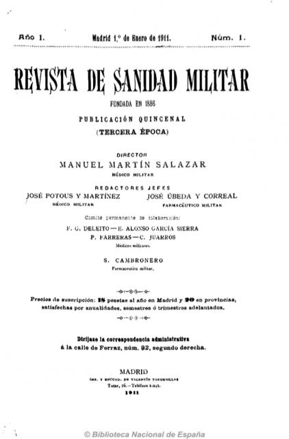 Portada del primer número de la Revista de sanidad militar. Fuente: Hemeroteca de la Biblioteca Nacional de España.