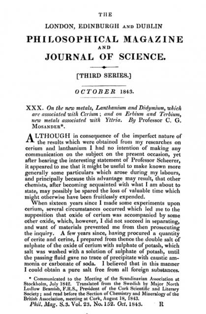 Artículo de Mosander con el hallazgo del erbio y el