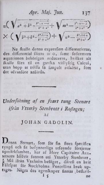 Comienzo del artículo de Gadolin con el primer elemento descubierto del grupo de las tierras raras. 1794.