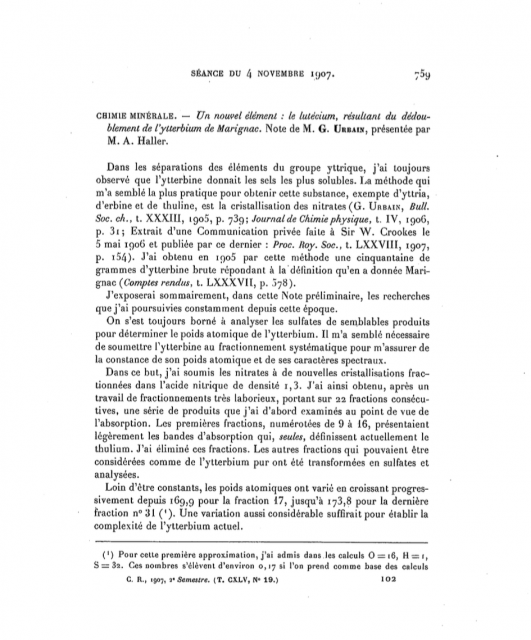 Primera aparición del nombre de Lutecio para el elemento de número atómico 72.