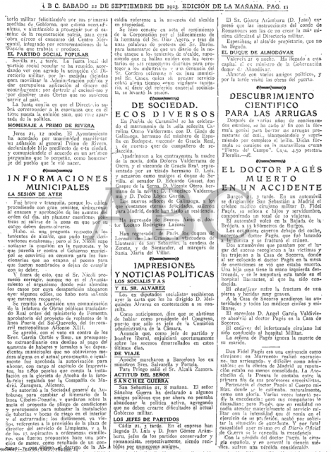 Noticia del fallecimiento de Pagés en el ABC del 22 de septiembre de 1923.