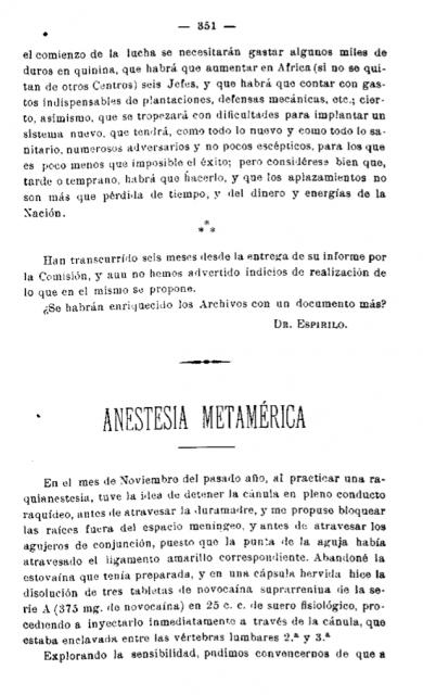 Primera página del artículo del Dr. Pagés donde aparece por primera vez la técnica conocida hoy como anestesia epidural.