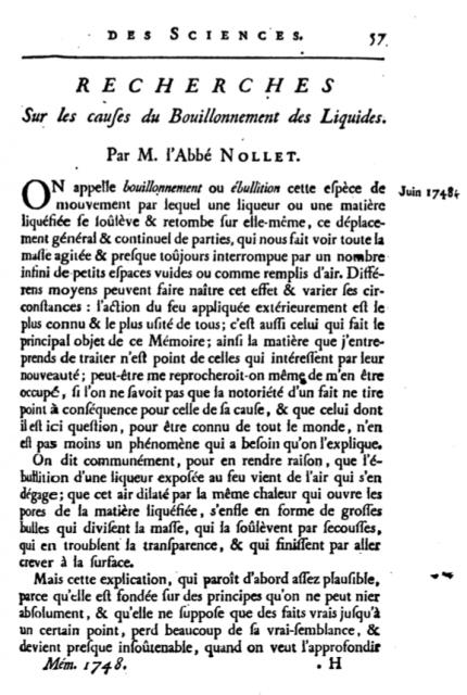 Primera página del artículo de Nolllet explicando el fenómenos de difusión a través de una membrana semipermeable (hoy, ósmosis), en Mémoires de Mathématique et de Physique, tirés des registres de l'Académie Royale des Sciences.