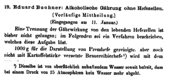 Primera página del artículo «Alkoholische Gährung ohne Hefezellen (Vorläufige Mitteilung», 1897.