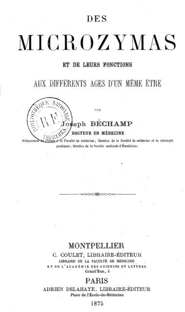 Portada del libro «Des microzymas», edición de 1875.