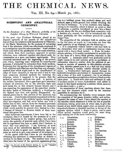 Primera publicación de Crookes sobre la existencia de un nuevo elemento (talio, 1861).