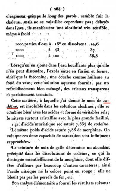 Primera vez que aparece el término «codeína», término acuñado por Robiquet en 1832.