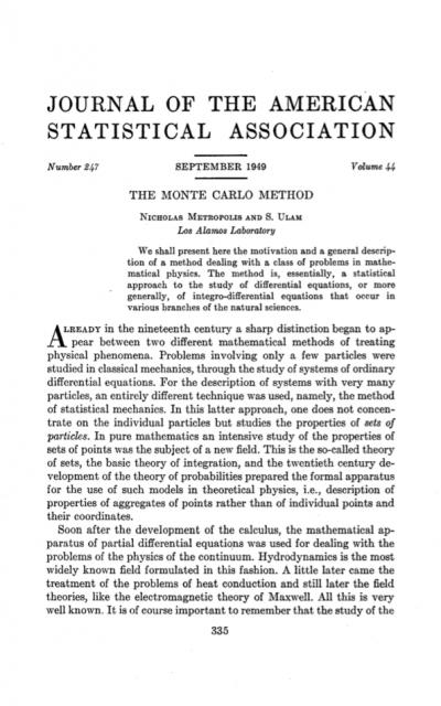 El artículo original del método de Monte Carlo y los números de la suerte