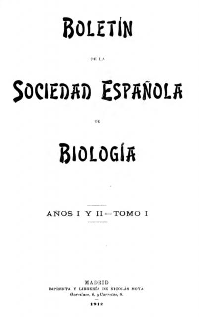 Portada del Boletín de la Sociedad Española de Biología. Tomo I, 1912.