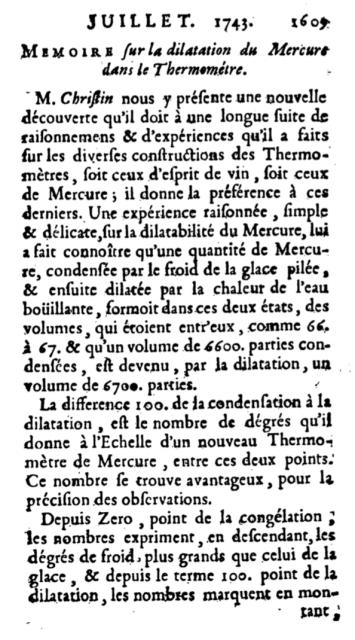 Artículo en el que Christin presenta su propuesta de uso de mercurio en los termómetros.